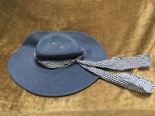 New Mud Pie Blue Straw Beach Sun Hat Women's One Size With Sash