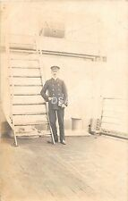 B53/ Hoboken New Jersey NJ Real Photo RPPC Postcard 1908 Foreign Ship Officer 2