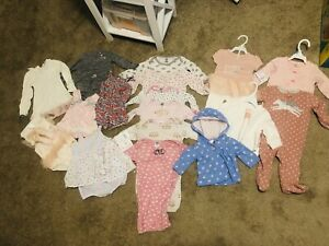 3-6 & 6-9 month baby girl pajamas with feet and sleeper lot winter clothes