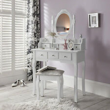 White Dressing Table with Mirror & Stool Set Dresser For Birthday Girl Princess