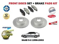 FOR SAAB 9-3 93 YS3D 1998-2003 FRONT BRAKE DISCS SET AND DISC PADS KIT 288mm DIA