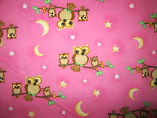 HOOT OWLS IN TREES BABY OWL STARS MOON PINK COTTON FLANNEL FABRIC FQ