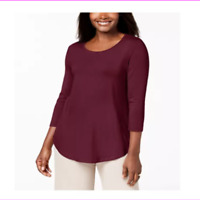 JM Collection Womens Top 3/4 Sleeve Scoop Neck Stretch Casual Shirt Wine Size S
