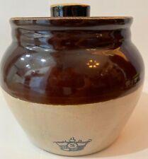 Vintage Bean Brown & Natural One Handle Crock with Lid Blue #3 Crown