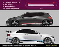 Stripe Style Seitenstreifen Autoaufkleber - 3-farbig/Wunschtext - #5_021 --