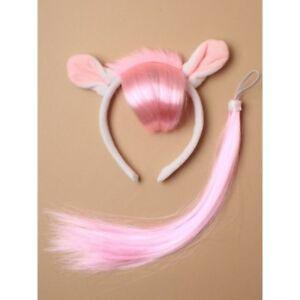 White Pony Fancy Dress Costume Ears Headband and Tail Girls Set Dressing Up