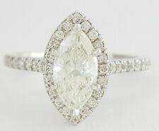 Halo Engagement Ring Gia H / I1 1.40 ct 14K White Gold Marquise Cut Diamond