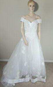 VINTAGE 80S STUNNING WHITE VICTORIAN DUCHESS STYLE EMBELLISHED WEDDING DRESS 8