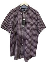 Tommy Hilfiger Mens Shirt XXL Red Blue Plaid Classic Fit Short Sleeve Button NWT