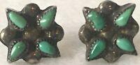 Vintage Stud Pierced Earrings Aztec Green Floral Starburst Costume Retro Jewelry
