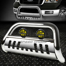 CHROME BULL BAR GUARD+YELLOW FOG LIGHT FOR 04-16 F150 NON-ECOBOOST/03+EXPEDITION