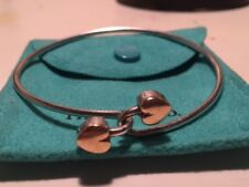 Tiffany & Co. 18k and Sterling Silver Intertwined Double Heart Bangle Bracelet