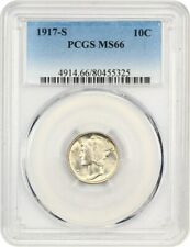 1917-S 10c PCGS MS66 - Mercury Dime - Frosty, Golden Gem