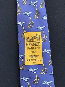 Tie hermes 5021 EA BREITLING 1884 Silk 100% Authentic 100% Made In France