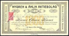 Sweden: Nygren & Ahlin Aktiebolag, 1000 kroner share, 1912