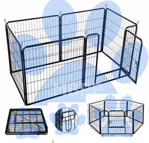 Heavy duty 6pc dog puppy whelping cage/pen rabbit guinea pig run(optional bed)
