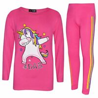 Kids Girls Rainbow Unicorn Dab Floss Pink Top & Legging Xmas Outfit Set 7-13 Yrs