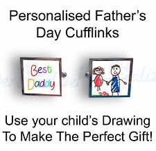 Personalised cufflinks with your child's drawing photo,text Father's day Gift da