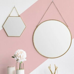 1Pc Hexagon Round Household Simple Mirror Wall Hanging with Chain Room Decor