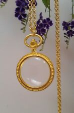 Magnifying Glass Statement Necklace pendant watch gold chain long adjust fine