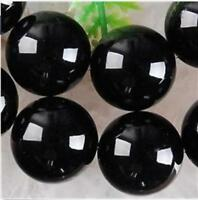 AAA 8mm  Black Agate Onyx Round Loose Beads Gemstone 15inch