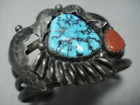 QUALITY VINTAGE NAVAJO TURQUOISE STERLING SILVER CORAL BRACELET CUFF