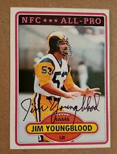 1980 Topps 120 Jim Youngblood Los Angeles Rams signed auto autograph card