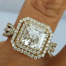 14k real Yellow Gold Princess Cut man made diamonds Engagement Wedding Ring S 7