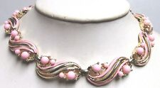 Vintage 40's Enamel Plastic Lucite Bead Collar Necklace Pink Signed Coro