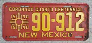 1940 NEW MEXICO CORONADO CUARTO CENTENNIAL LICENSE PLATE 1540-1940 ORIGINAL