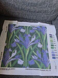 EHRMAN Needlepoint Tapestry - IRISES, designed by Raymond Honeyman