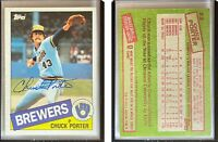 Chuck Porter Signed 1985 Topps #32 Card Milwaukee Brewers Auto Autograph