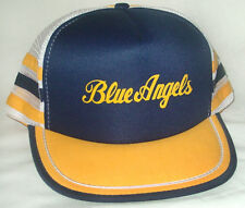 De Colección Gorra Camionero Malla 3 a rayas sombrero Blue Angels Us Navy  Marines Fighter Jets e82789f644c