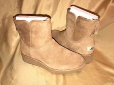 $150 Size 7 Womens UGG Aust.  Kristin  SHEEPSKIN Wedge Suede Boots Brown 1012497