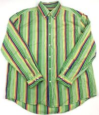 BASS Mens L Green Multi Color Striped Long Sleeve Neon Button Down Casual Shirt