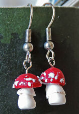 Hand made unique Poisonous toadstool fungi dangle earrings - Fly Agaric Amanita