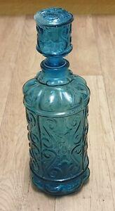 Empoli Italian Blue Glass 'Genie' Bottle Decanter Glassware Art Deco Decor