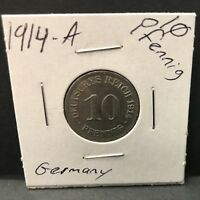 Germany The German Empire 1914A 10 Pfennig Coin High Grade Rare