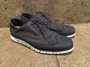 Cole Haan Mens Gray Zerogrand Wingtip Shoes Size 13