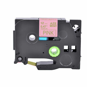 1PK Fits Brother P-Touch PT-D210 Satin Ribbon TZe TZ-RE34 Gold On Pink Label