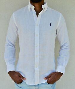 POLO RALPH LAUREN Linen Long Sleeve Summer Shirt - White For Men