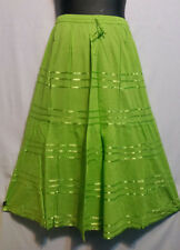Women Clothing elastic waist Long Skirt with pull string cotton Green Free Size