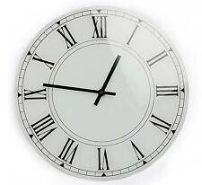 White Glass Wall Clock 30cm