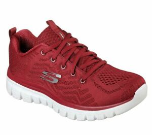 Skechers, Sneakers donna con Memory Foam, Graceful-get connected 12615 Red Rosso