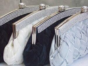 Ivory Navy Silver Satin Crystal Diamante Clutch Bag Handbag Purse Bridal Prom192
