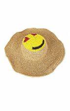 BCBG Max Azria Straw Hat Emoji Emogi Floppy Hat Hand Woven Smiley Face NWT