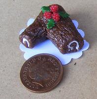1:12 Scale Christmas Chocolate Log Dolls House Miniature Cake Shop Accessory LA3
