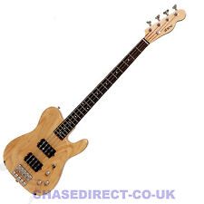 Shine SBA-704 Telecaster Electric Bass Guitar Natural Tele Humbucker Pickups
