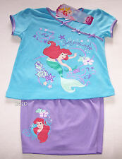 Disney Princess Ariel Girls Blue Purple Printed Pyjama Set Size 5 New