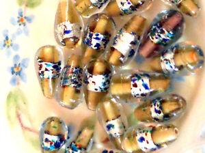 Vintage Glass Beads Silver Foil Lampwork Teardrop Long Colorful Unique Gold #473